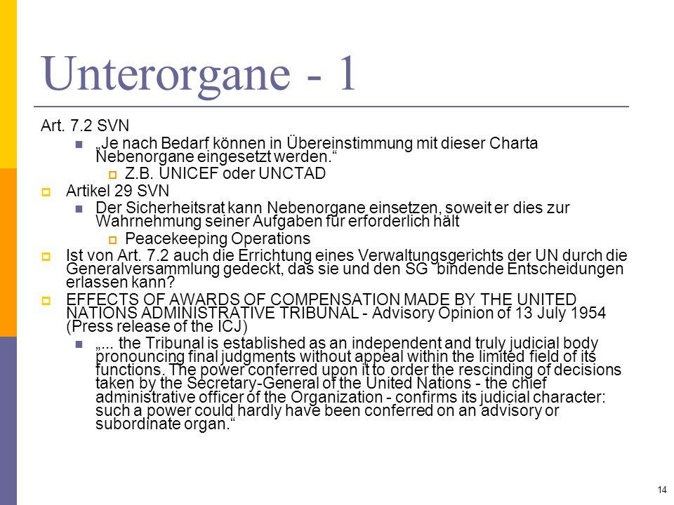 Unterorgane - 1 Art. 7.2 SVN Je nach Bedarf können in Übereinstimmung mit dieser Charta Nebenorgane eingesetzt werden. Z.B. UNICEF oder UNCTAD Artikel