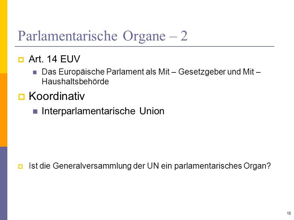 Parlamentarische Organe – 2 Art. 14 EUV Das Europäische Parlament als Mit – Gesetzgeber und Mit – Haushaltsbehörde Koordinativ Interparlamentarische U