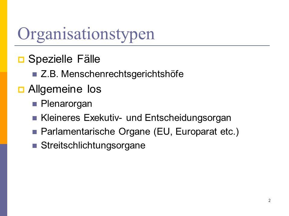 Organstruktur Repraesentationsorgane (Generalversammlung, Ministerraete etc.) Plenarorgane (= Dauer-Konferenzen) Exekutivorgane (IMF, Weltbank etc.) Vertretung gesellschaftlicher Gruppen (ECOSOC, ILO- Rat, WISO Rat in der EU), Regionalvertretung (Rat der Regionen z.B.) Eigenwert von Organen.