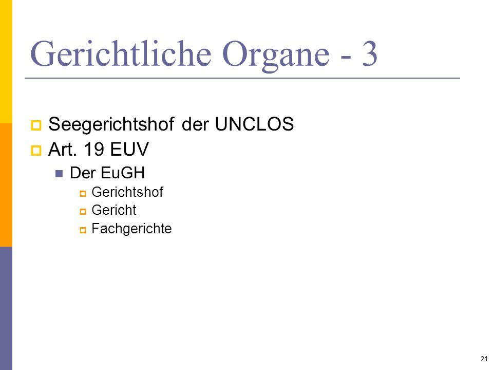 Gerichtliche Organe - 3 Seegerichtshof der UNCLOS Art. 19 EUV Der EuGH Gerichtshof Gericht Fachgerichte 21