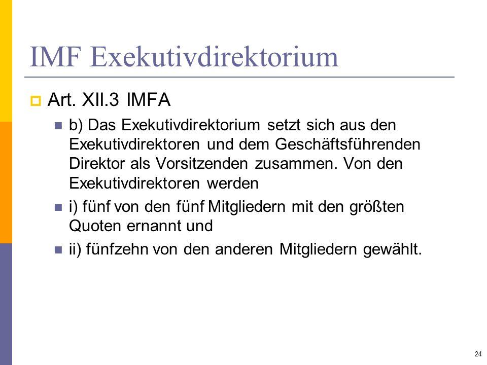 IMF Exekutivdirektorium Art. XII.3 IMFA b) Das Exekutivdirektorium setzt sich aus den Exekutivdirektoren und dem Geschäftsführenden Direktor als Vorsi