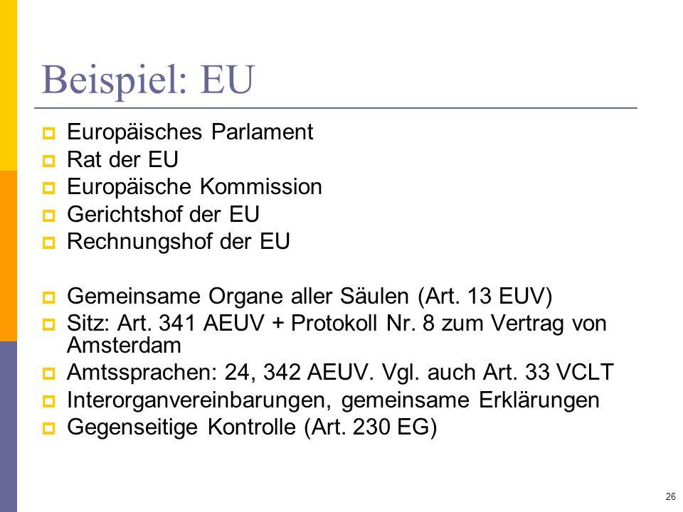 Beispiel: EU Europäisches Parlament Rat der EU Europäische Kommission Gerichtshof der EU Rechnungshof der EU Gemeinsame Organe aller Säulen (Art. 13 E