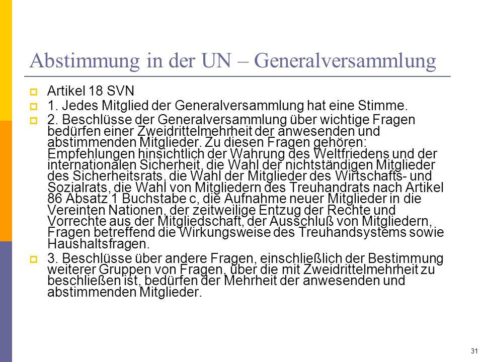Abstimmung in der UN – Generalversammlung Artikel 18 SVN 1. Jedes Mitglied der Generalversammlung hat eine Stimme. 2. Beschlüsse der Generalversammlun