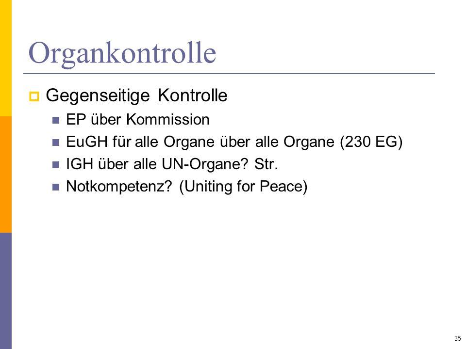 Organkontrolle Gegenseitige Kontrolle EP über Kommission EuGH für alle Organe über alle Organe (230 EG) IGH über alle UN-Organe? Str. Notkompetenz? (U