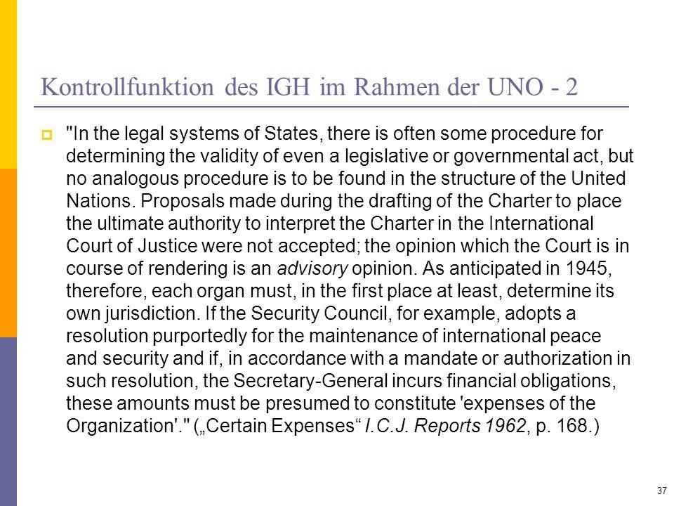 Kontrollfunktion des IGH im Rahmen der UNO - 2