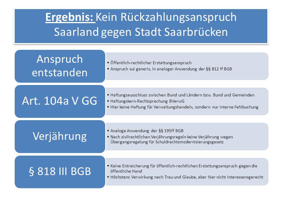Ergebnis: Kein Rückzahlungsanspruch Saarland gegen Stadt Saarbrücken Öffentlich-rechtlicher Erstattungsanspruch Anspruch sui generis, in analoger Anwendung der §§ 812 ff BGB Anspruch entstanden Haftungsausschluss zwischen Bund und Ländern bzw.