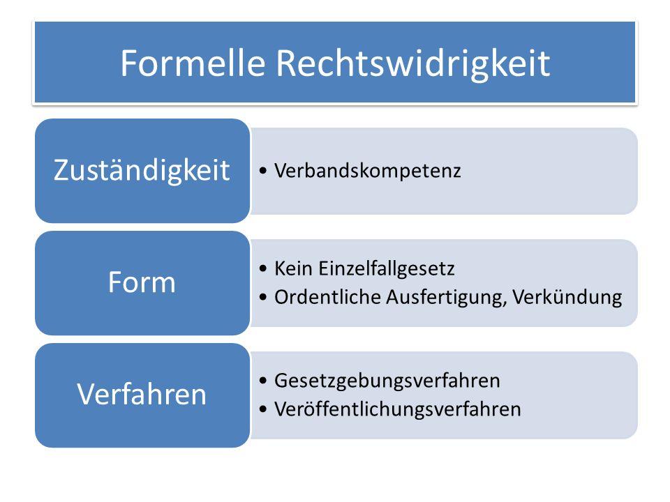 Formelle Rechtswidrigkeit Verbandskompetenz Zuständigkeit Kein Einzelfallgesetz Ordentliche Ausfertigung, Verkündung Form Gesetzgebungsverfahren Veröffentlichungsverfahren Verfahren
