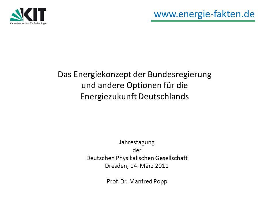 www.energie-fakten.de Das Energiekonzept der Bundesregierung und andere Optionen für die Energiezukunft Deutschlands Jahrestagung der Deutschen Physik
