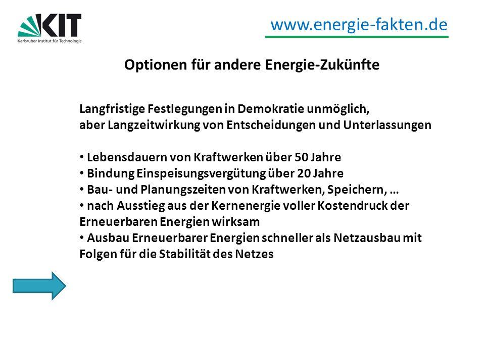 www.energie-fakten.de Optionen für andere Energie-Zukünfte Langfristige Festlegungen in Demokratie unmöglich, aber Langzeitwirkung von Entscheidungen