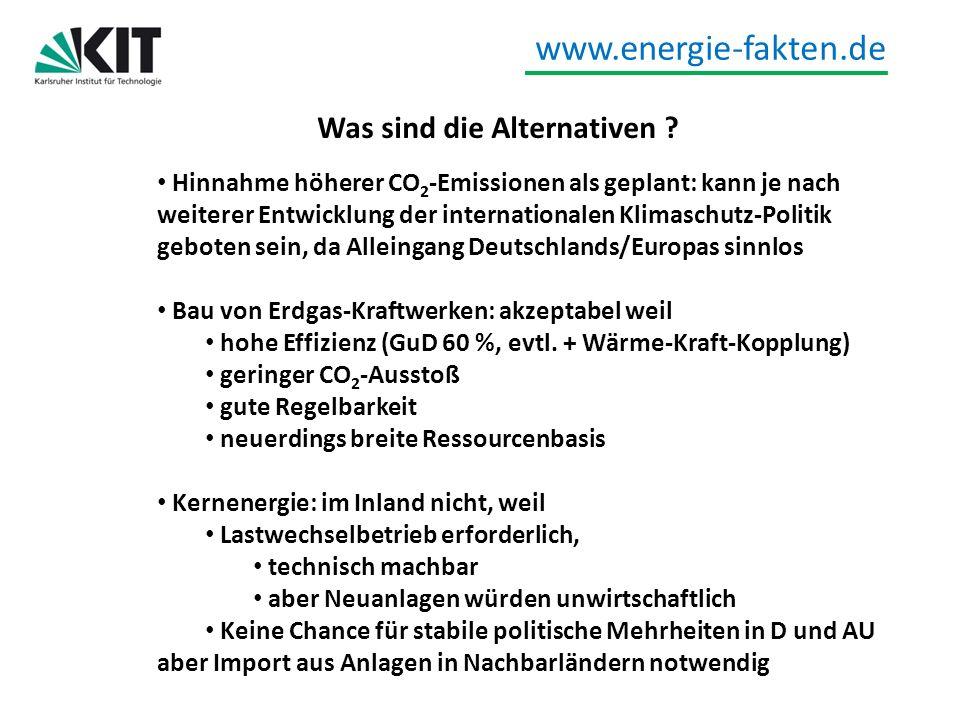 www.energie-fakten.de Was sind die Alternativen ? Hinnahme höherer CO 2 -Emissionen als geplant: kann je nach weiterer Entwicklung der internationalen