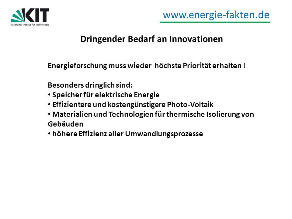 www.energie-fakten.de Dringender Bedarf an Innovationen Energieforschung muss wieder höchste Priorität erhalten ! Besonders dringlich sind: Speicher f