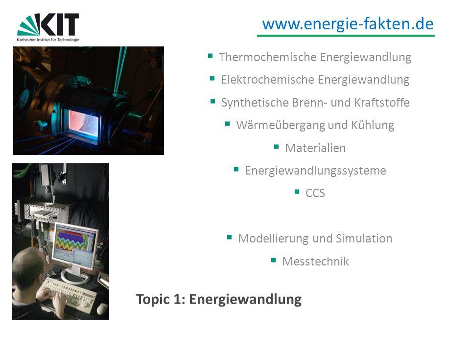 www.energie-fakten.de Topic 1: Energiewandlung Thermochemische Energiewandlung Elektrochemische Energiewandlung Synthetische Brenn- und Kraftstoffe Wä