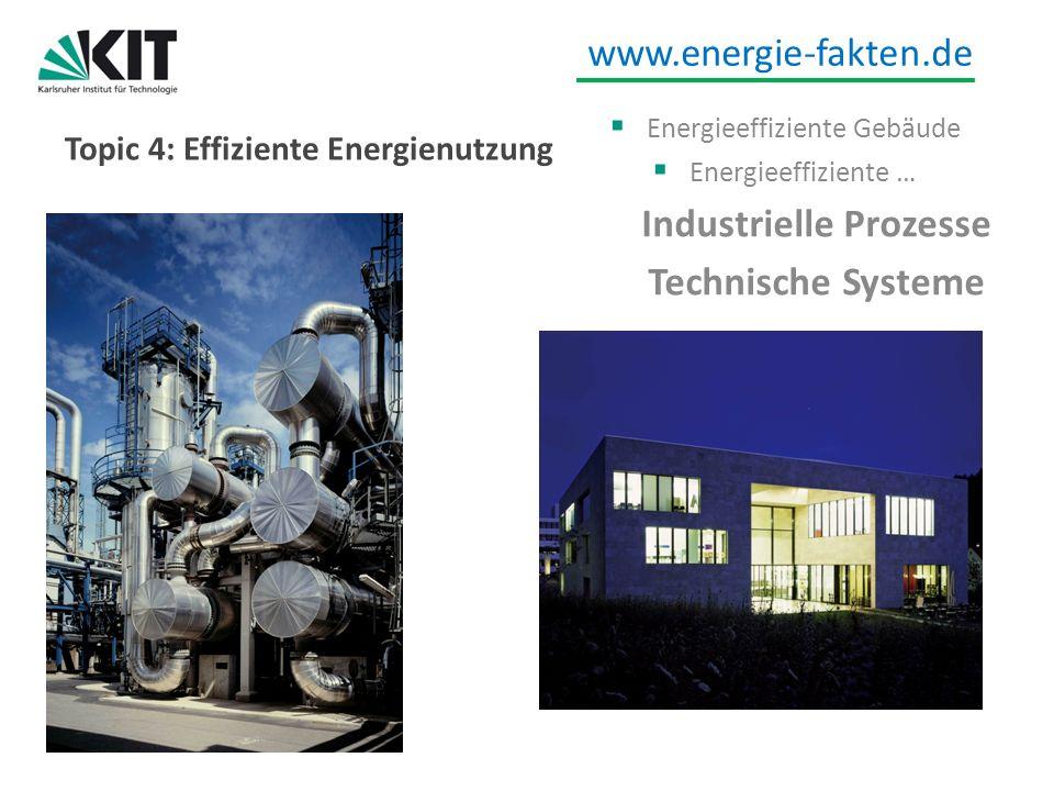 www.energie-fakten.de Topic 4: Effiziente Energienutzung Energieeffiziente Gebäude Energieeffiziente … Industrielle Prozesse Technische Systeme