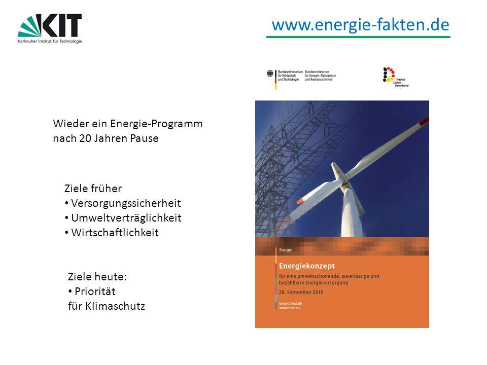 www.energie-fakten.de Wieder ein Energie-Programm nach 20 Jahren Pause Ziele früher Versorgungssicherheit Umweltverträglichkeit Wirtschaftlichkeit Zie