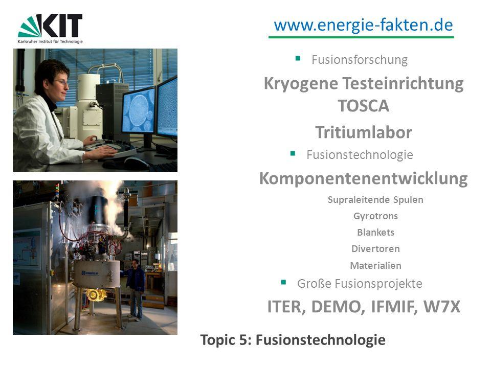 www.energie-fakten.de Topic 5: Fusionstechnologie Fusionsforschung Kryogene Testeinrichtung TOSCA Tritiumlabor Fusionstechnologie Komponentenentwicklu