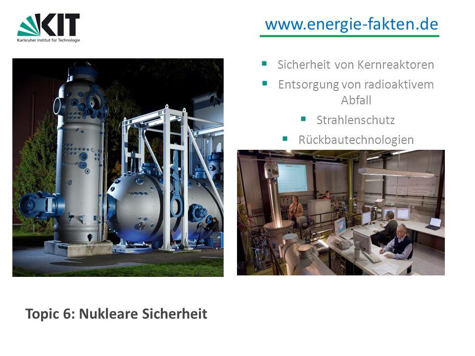 www.energie-fakten.de Topic 6: Nukleare Sicherheit Sicherheit von Kernreaktoren Entsorgung von radioaktivem Abfall Strahlenschutz Rückbautechnologien
