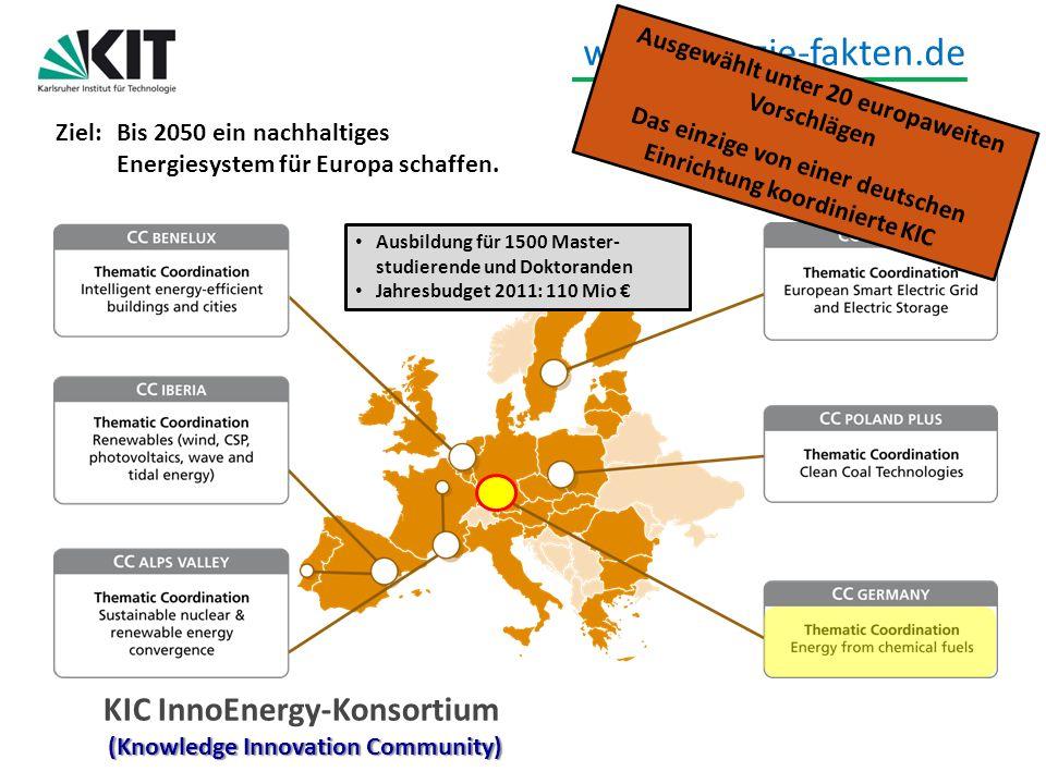 www.energie-fakten.de (Knowledge Innovation Community) KIC InnoEnergy-Konsortium (Knowledge Innovation Community) Ausgewählt unter 20 europaweiten Vor