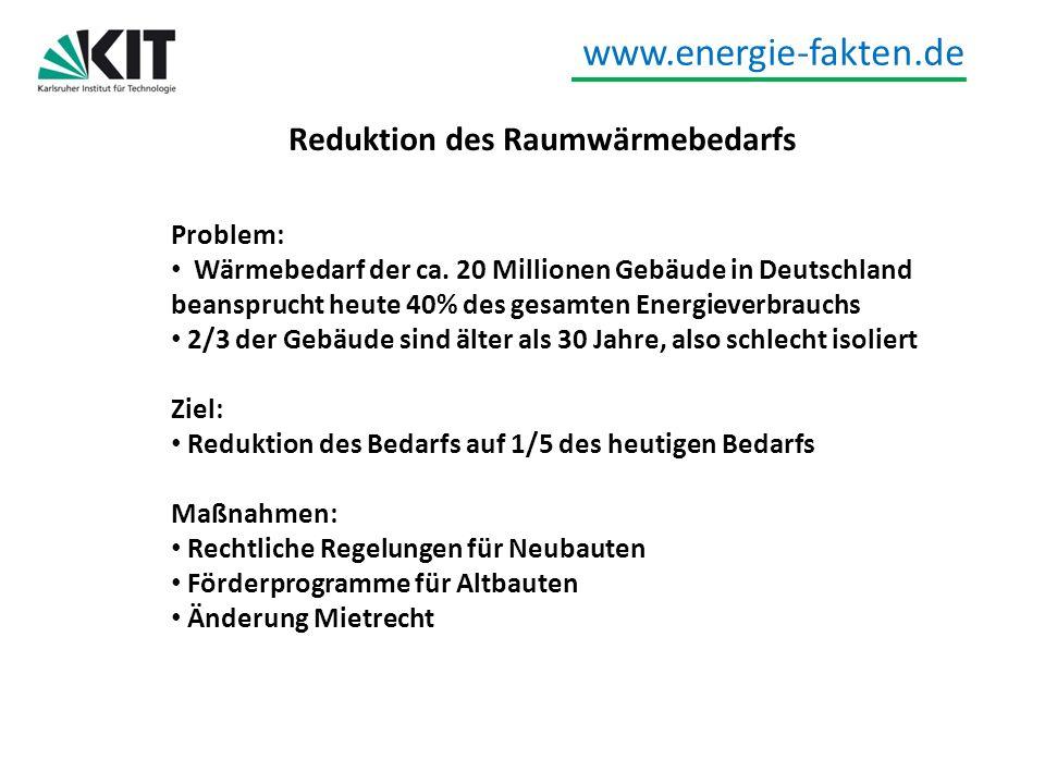 www.energie-fakten.de Mobilität Umstellung PKW auf Elektroantrieb als Ersatz für fossile Brennstoffe Speicher für Erneuerbare Energien Ziel: 1 Million Elektrofahrzeuge bis 2020 6 Millionen Elektrofahrzeuge bis 2030