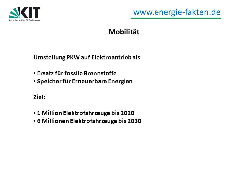 www.energie-fakten.de Mobilität Umstellung PKW auf Elektroantrieb als Ersatz für fossile Brennstoffe Speicher für Erneuerbare Energien Ziel: 1 Million