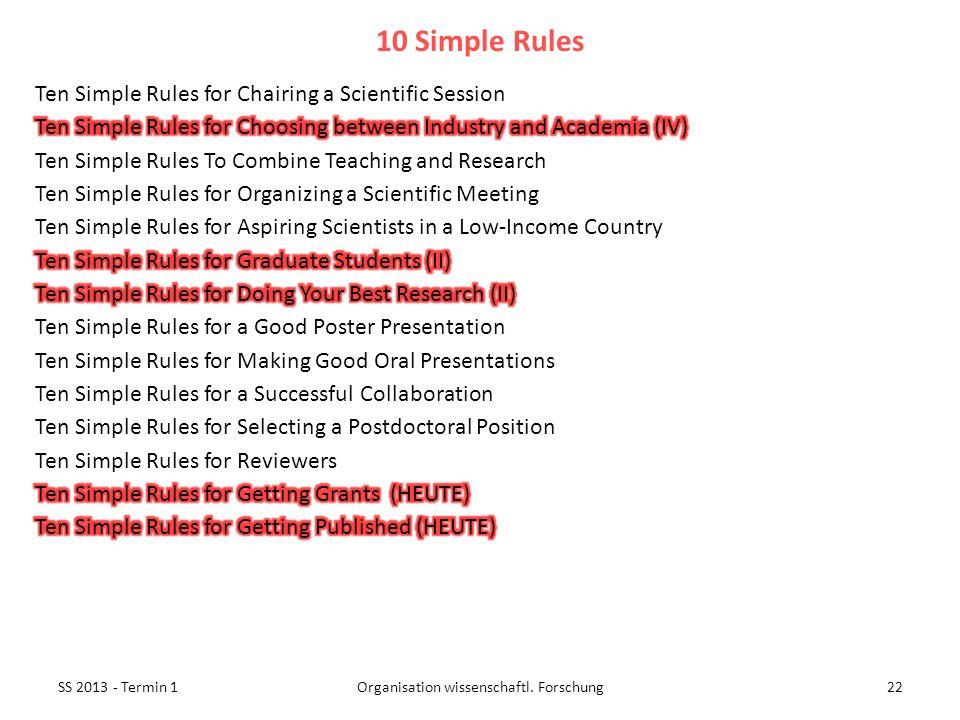 SS 2013 - Termin 122Organisation wissenschaftl. Forschung 10 Simple Rules