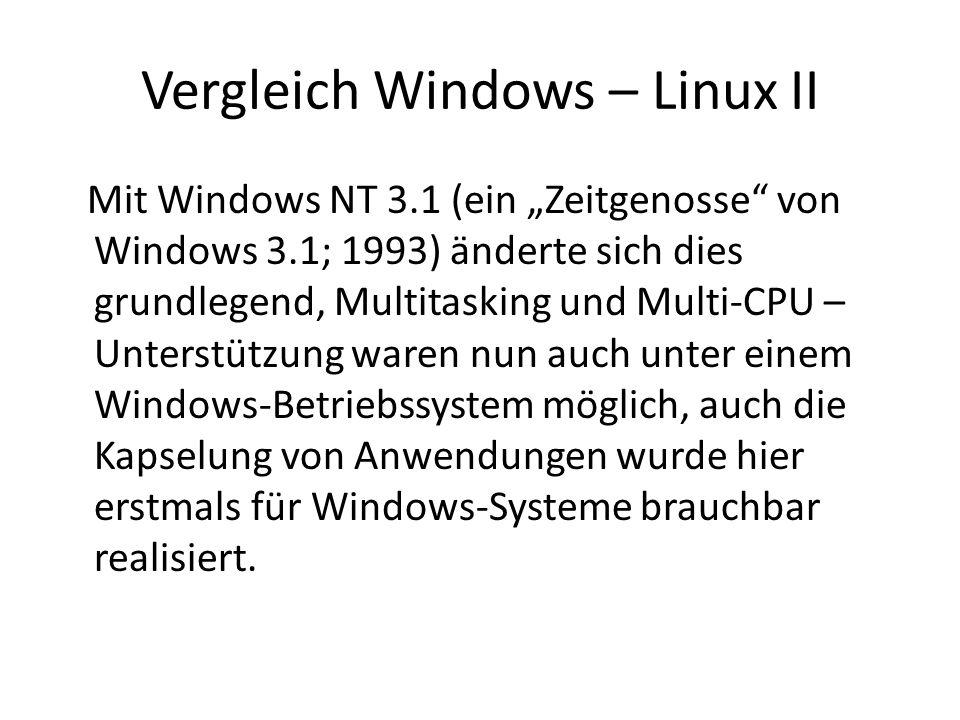 Vergleich Windows – Linux II Mit Windows NT 3.1 (ein Zeitgenosse von Windows 3.1; 1993) änderte sich dies grundlegend, Multitasking und Multi-CPU – Un