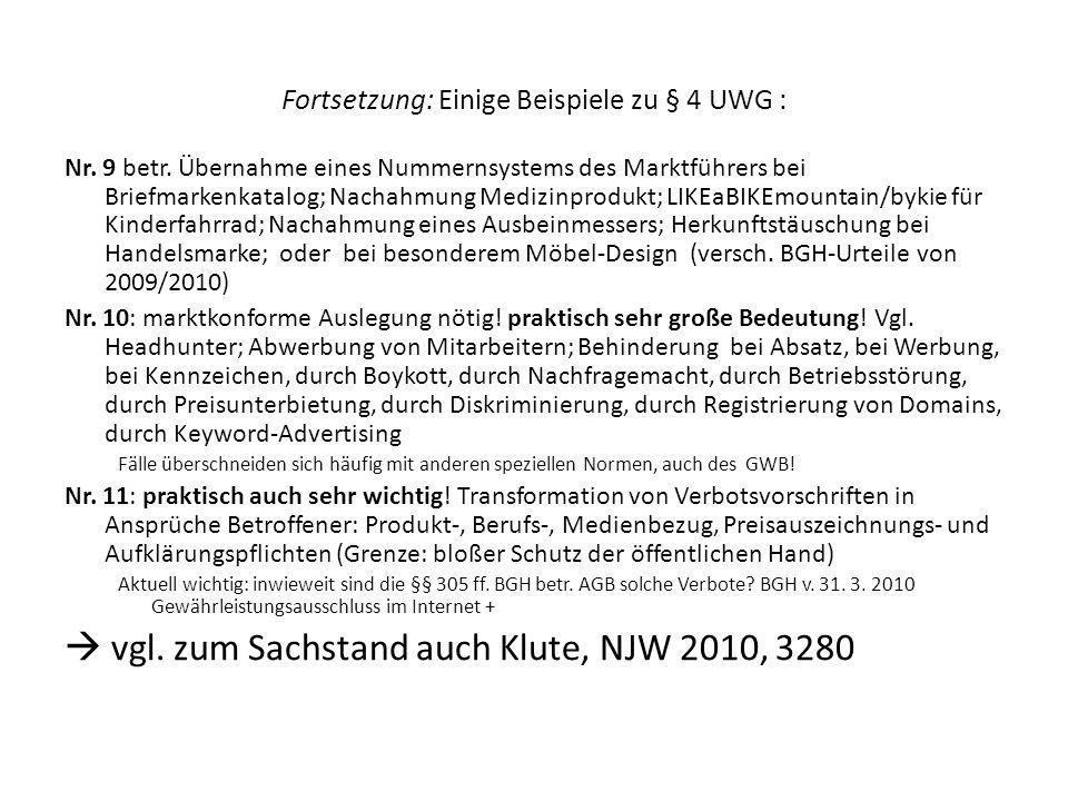 Fortsetzung: Einige Beispiele zu § 4 UWG : Nr. 9 betr. Übernahme eines Nummernsystems des Marktführers bei Briefmarkenkatalog; Nachahmung Medizinprodu