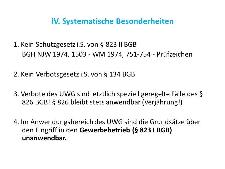 IV. Systematische Besonderheiten 1. Kein Schutzgesetz i.S. von § 823 II BGB BGH NJW 1974, 1503 - WM 1974, 751-754 - Prüfzeichen 2. Kein Verbotsgesetz