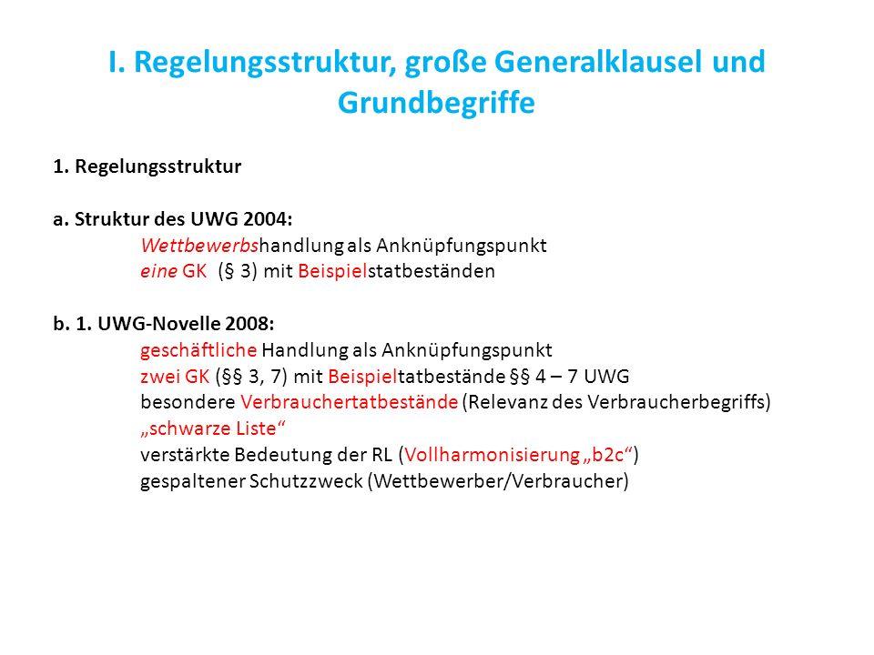 I. Regelungsstruktur, große Generalklausel und Grundbegriffe 1. Regelungsstruktur a. Struktur des UWG 2004: Wettbewerbshandlung als Anknüpfungspunkt e