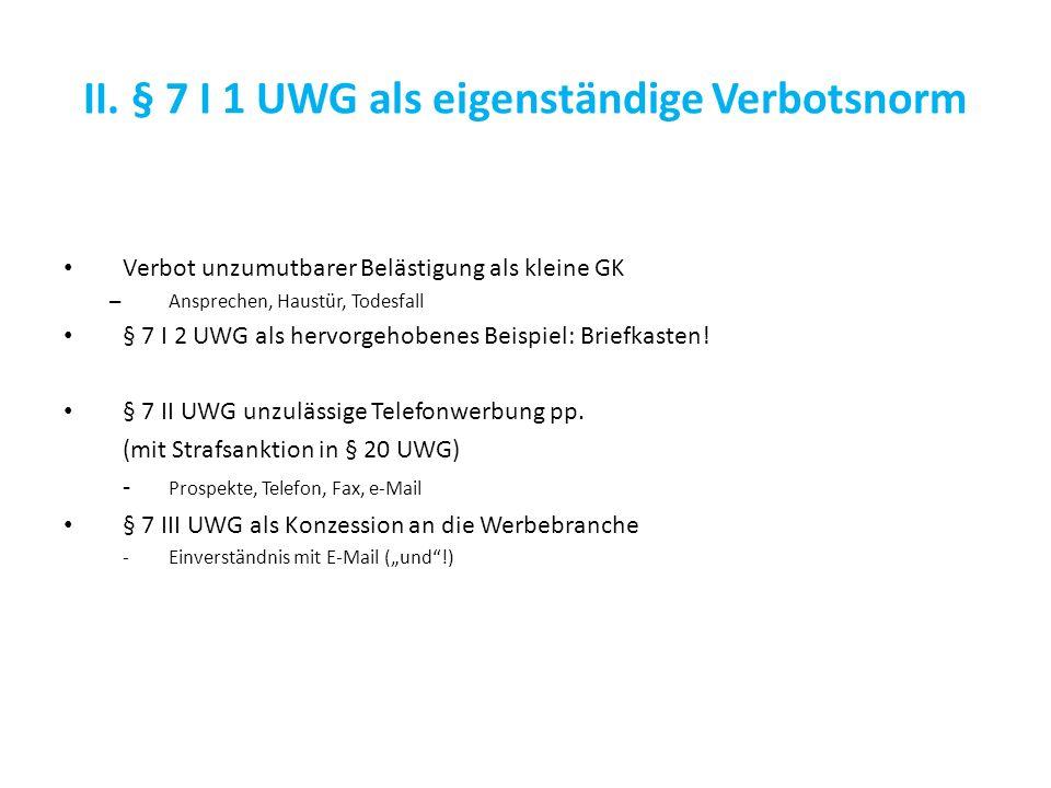 III.Katalog unlauterer Handlungen (nicht: unzulässiger …!.