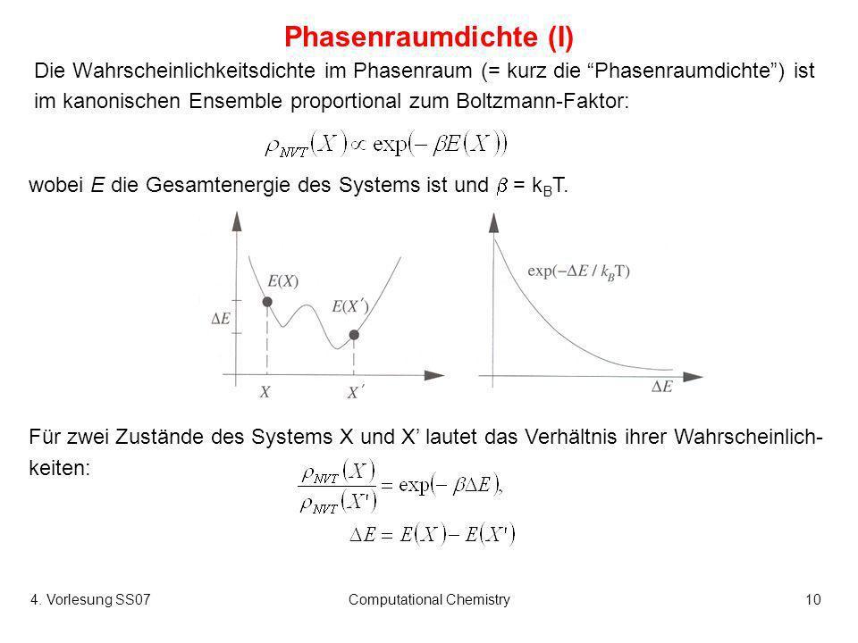 4. Vorlesung SS07Computational Chemistry10 Phasenraumdichte (I) Die Wahrscheinlichkeitsdichte im Phasenraum (= kurz die Phasenraumdichte) ist im kanon