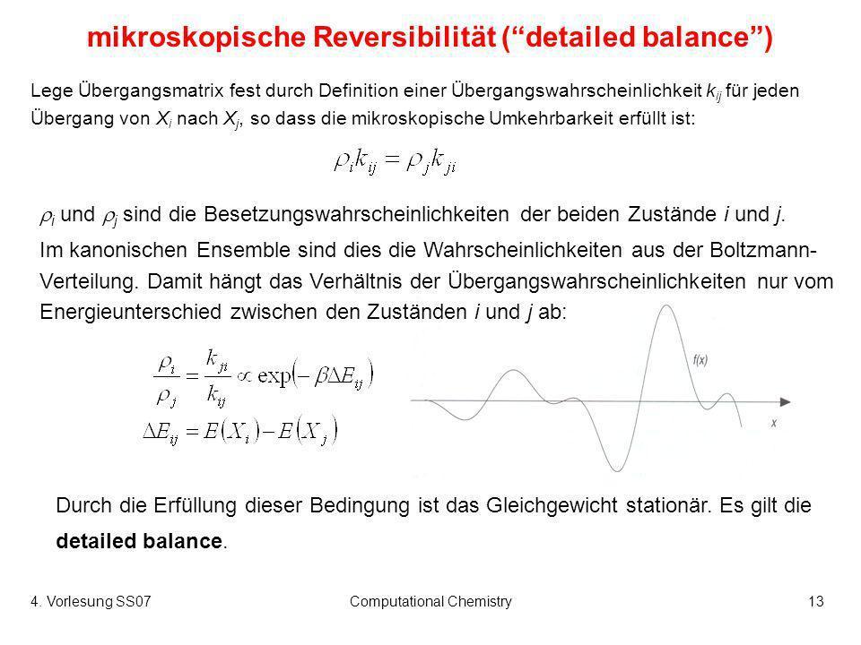 4. Vorlesung SS07Computational Chemistry13 mikroskopische Reversibilität (detailed balance) Lege Übergangsmatrix fest durch Definition einer Übergangs