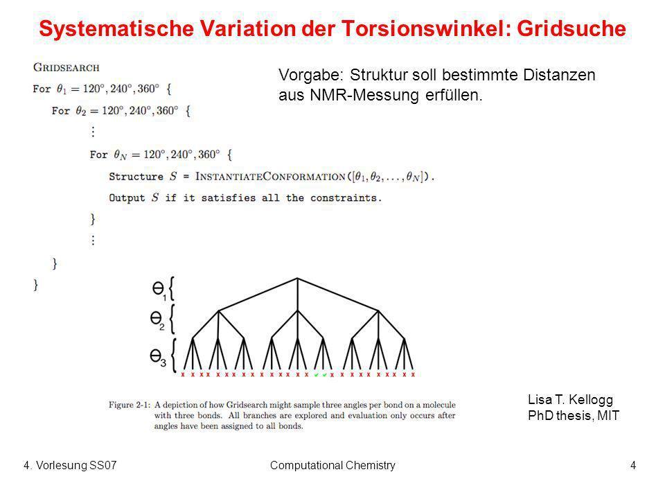 4. Vorlesung SS07Computational Chemistry4 Systematische Variation der Torsionswinkel: Gridsuche Vorgabe: Struktur soll bestimmte Distanzen aus NMR-Mes