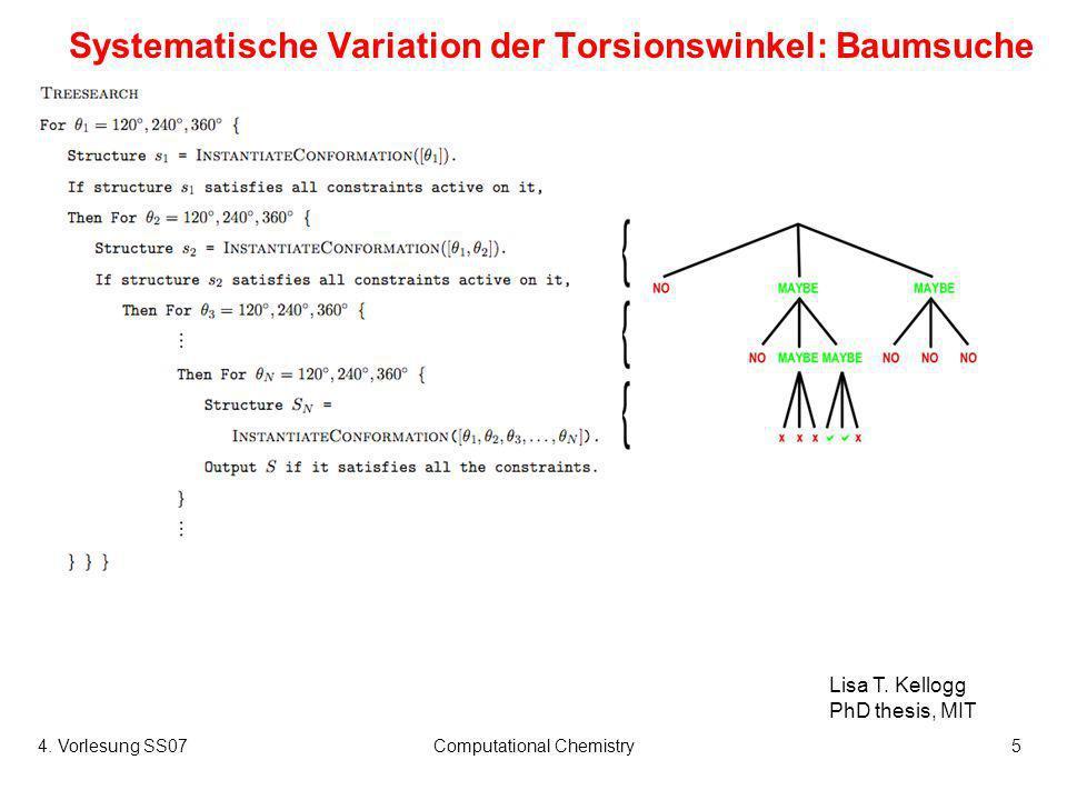 4. Vorlesung SS07Computational Chemistry5 Systematische Variation der Torsionswinkel: Baumsuche Lisa T. Kellogg PhD thesis, MIT