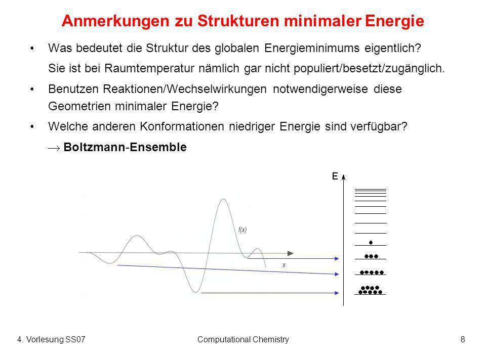 4. Vorlesung SS07Computational Chemistry8 Anmerkungen zu Strukturen minimaler Energie Was bedeutet die Struktur des globalen Energieminimums eigentlic