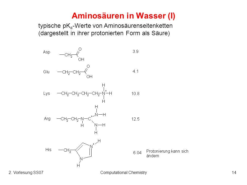 2. Vorlesung SS07Computational Chemistry14 Aminosäuren in Wasser (I) typische pK a -Werte von Aminosäurenseitenketten (dargestellt in ihrer protoniert