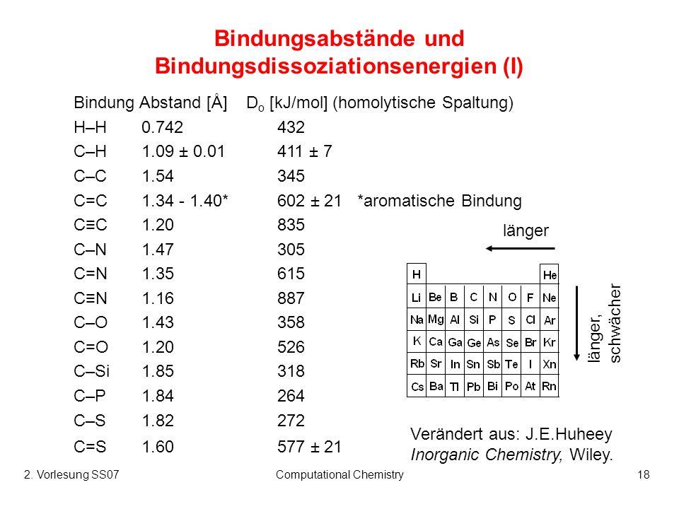 2. Vorlesung SS07Computational Chemistry18 Bindungsabstände und Bindungsdissoziationsenergien (I) Bindung Abstand [Å] D o [kJ/mol] (homolytische Spalt