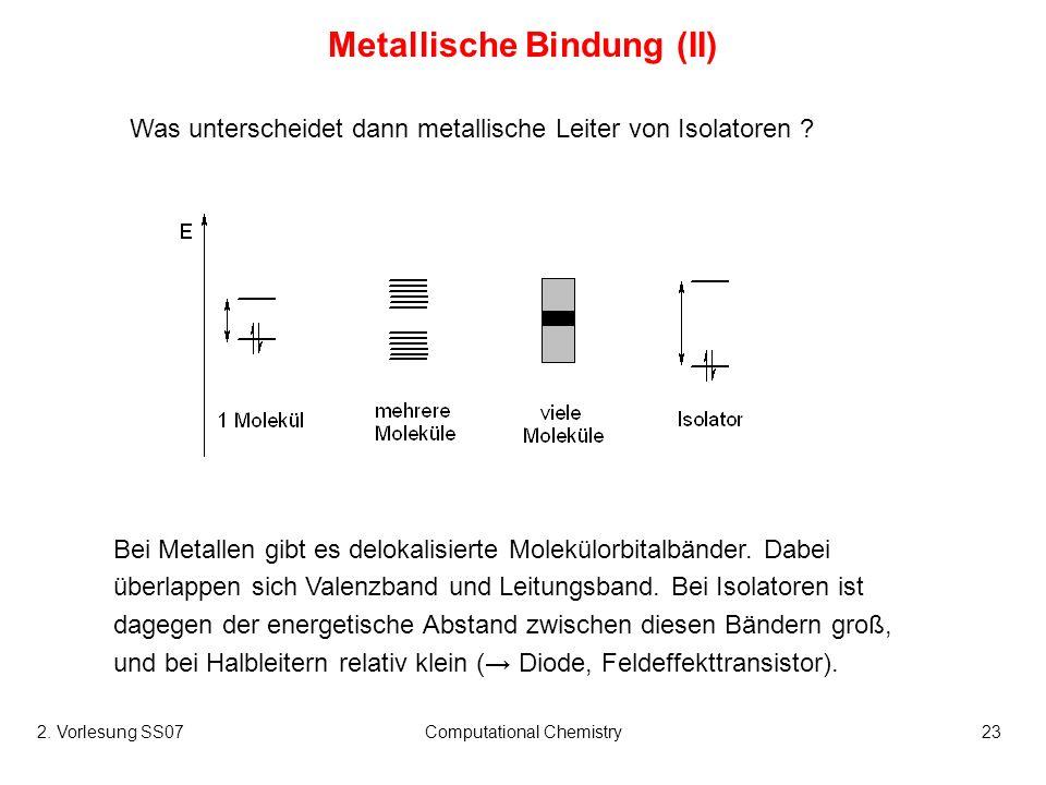 2. Vorlesung SS07Computational Chemistry23 Metallische Bindung (II) Was unterscheidet dann metallische Leiter von Isolatoren ? Bei Metallen gibt es de