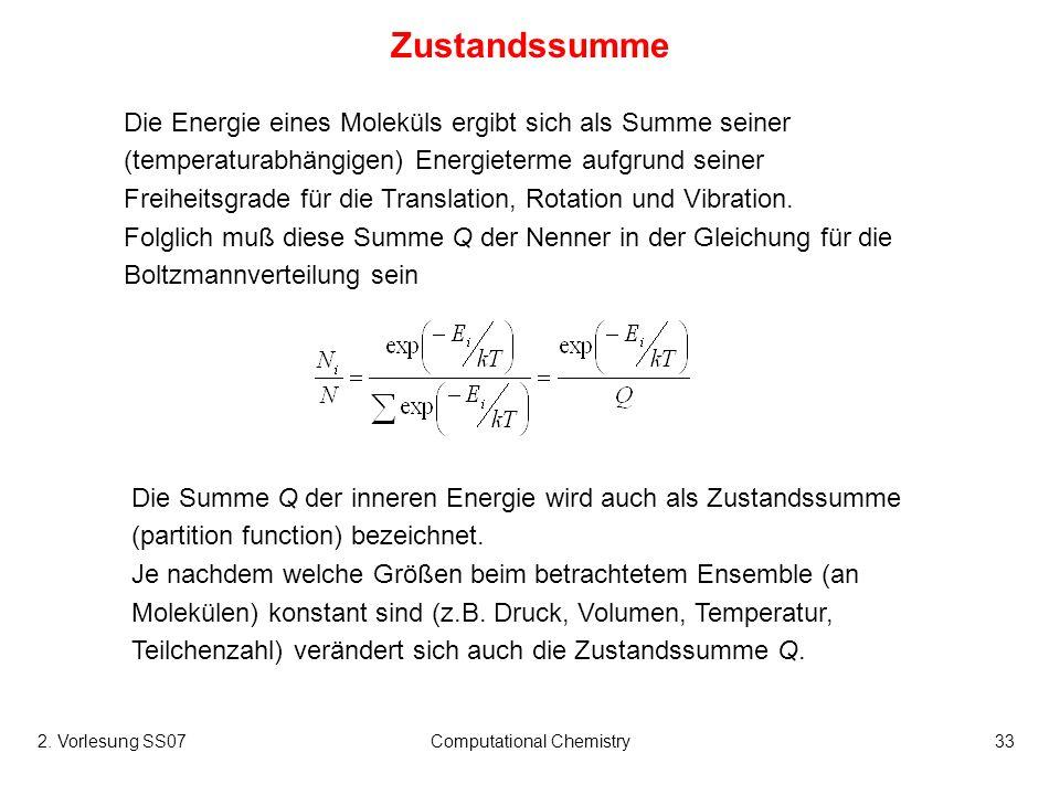 2. Vorlesung SS07Computational Chemistry33 Die Energie eines Moleküls ergibt sich als Summe seiner (temperaturabhängigen) Energieterme aufgrund seiner