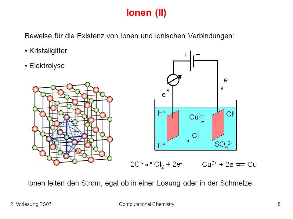 2. Vorlesung SS07Computational Chemistry8 Ionen (II) Beweise für die Existenz von Ionen und ionischen Verbindungen: Kristallgitter Elektrolyse Ionen l