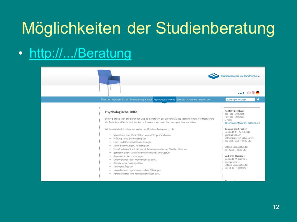 12 Möglichkeiten der Studienberatung http://.../Beratung