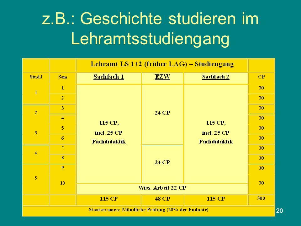 20 z.B.: Geschichte studieren im Lehramtsstudiengang