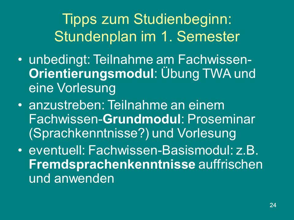 24 Tipps zum Studienbeginn: Stundenplan im 1. Semester unbedingt: Teilnahme am Fachwissen- Orientierungsmodul: Übung TWA und eine Vorlesung anzustrebe