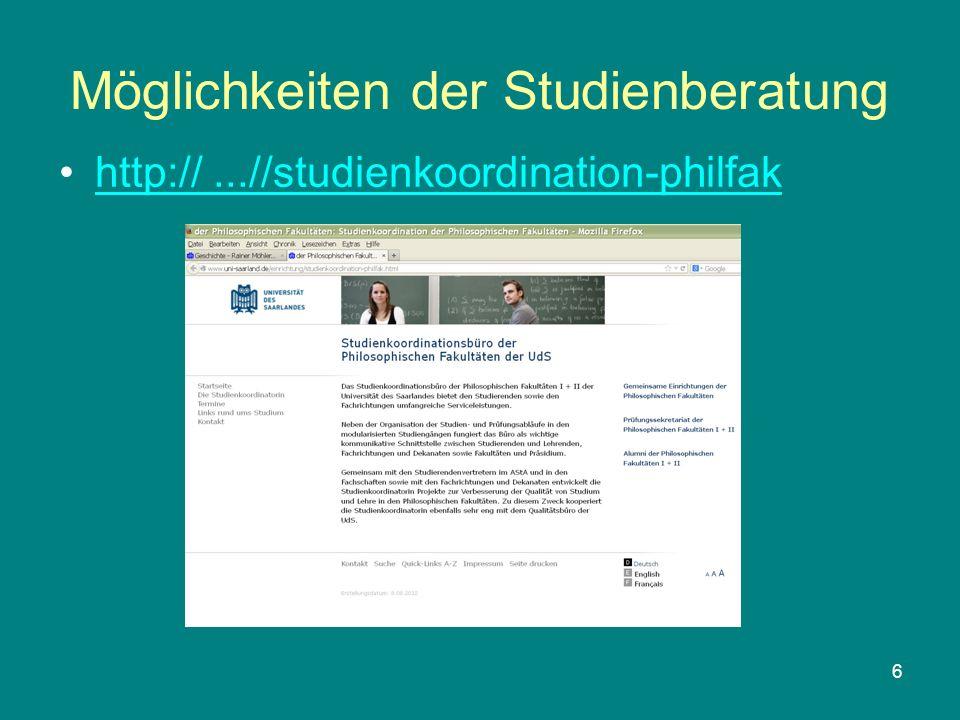 6 Möglichkeiten der Studienberatung http://...//studienkoordination-philfak