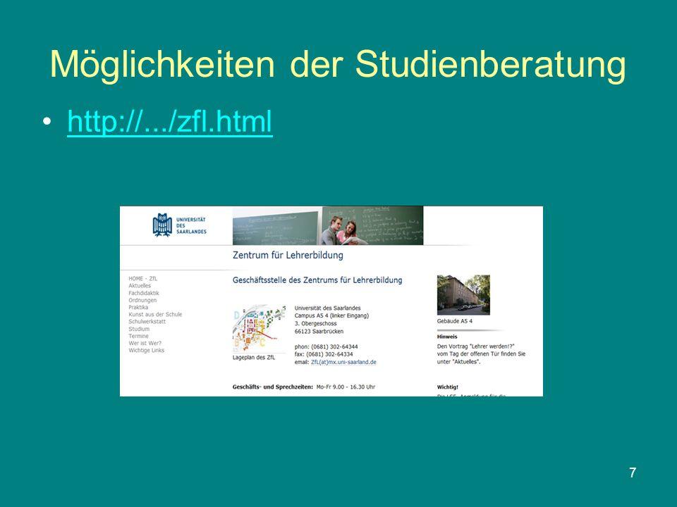 7 Möglichkeiten der Studienberatung http://.../zfl.html
