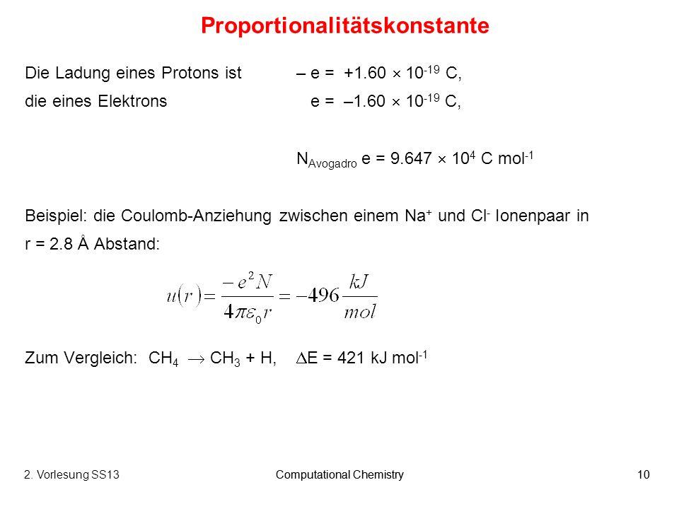 Computational Chemistry102. Vorlesung SS13Computational Chemistry10 Proportionalitätskonstante Die Ladung eines Protons ist – e = +1.60 10 -19 C, die