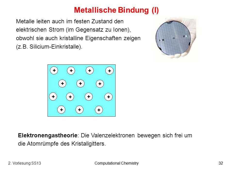 Computational Chemistry322. Vorlesung SS13Computational Chemistry32 Metallische Bindung (I) Metalle leiten auch im festen Zustand den elektrischen Str