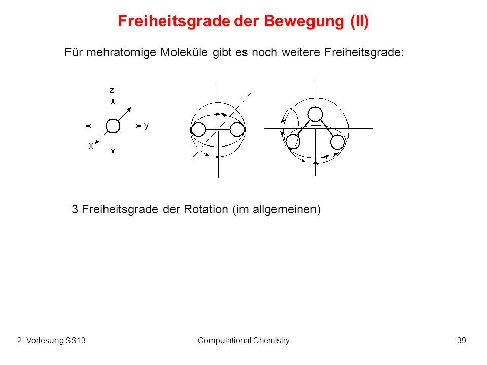 Computational Chemistry39 Für mehratomige Moleküle gibt es noch weitere Freiheitsgrade: Freiheitsgrade der Bewegung (II) 3 Freiheitsgrade der Rotation
