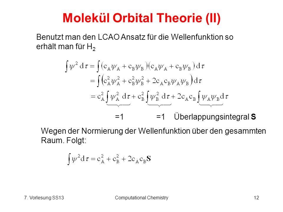 7. Vorlesung SS13Computational Chemistry12 Molekül Orbital Theorie (II) Benutzt man den LCAO Ansatz für die Wellenfunktion so erhält man für H 2 =1 =1