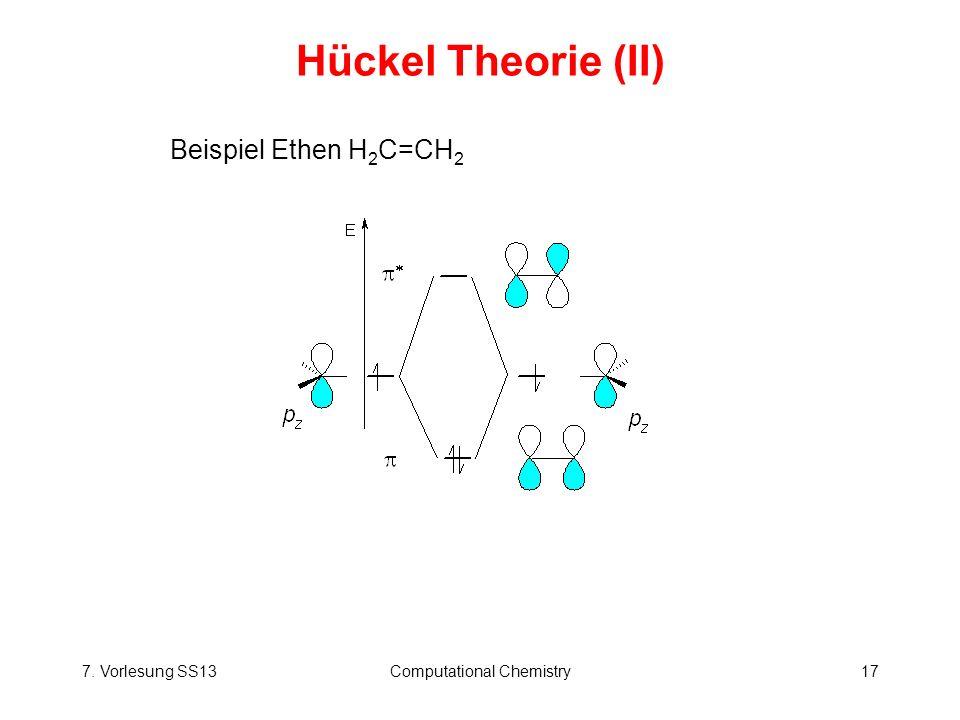 7. Vorlesung SS13Computational Chemistry17 Hückel Theorie (II) Beispiel Ethen H 2 C=CH 2