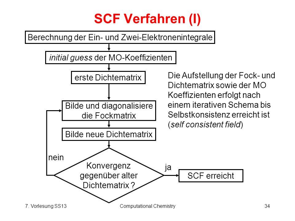 7. Vorlesung SS13Computational Chemistry34 SCF Verfahren (I) Die Aufstellung der Fock- und Dichtematrix sowie der MO Koeffizienten erfolgt nach einem